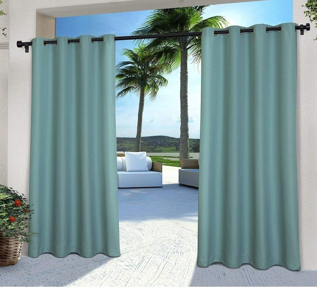OSD 2pc 108 Teal Color Gazebo Curtains Set Pair, Indoor Pergola Drapes Porch Deck Cabana Patio Screen Entrance Sunroom Lanai, Dark Blue Solid Color Pattern Rugby Colors Outside