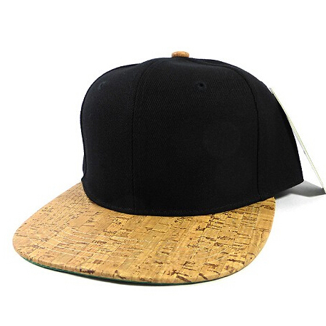 Plain brown pu leather snapback cap wood hat wood brimmed hats