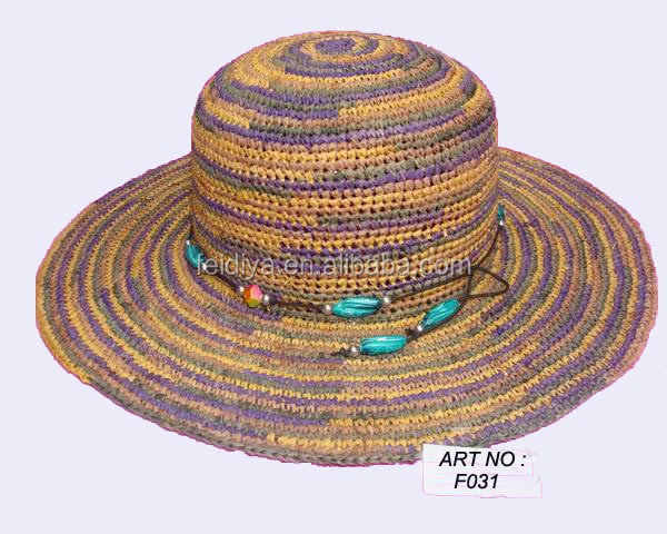 new products multi raffia colorness straw hat for beach