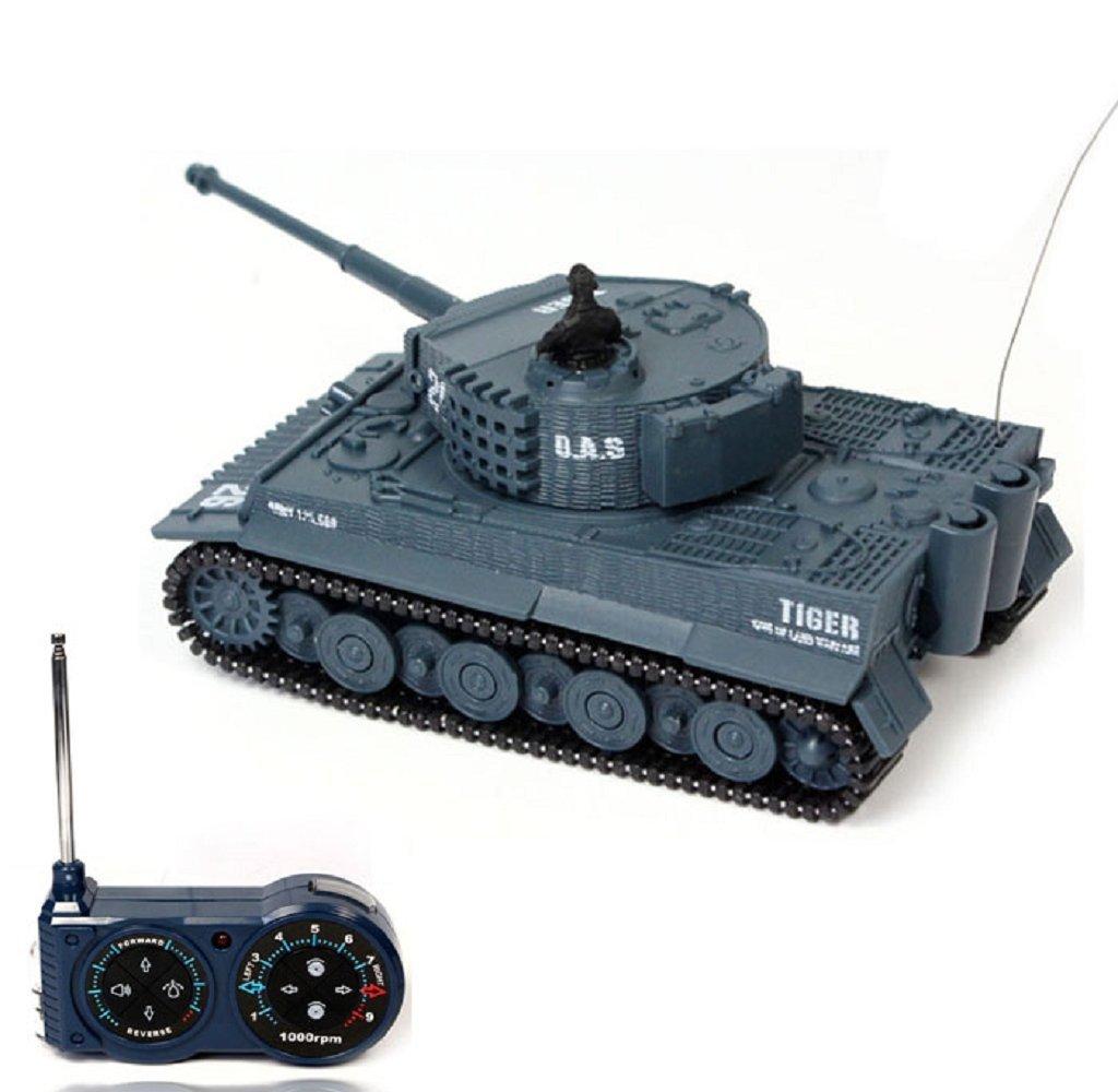 Rukiwa Mini 1:72 49MHz R/C Radio Remote Control Tiger Tank 20M Kids Toy Grey