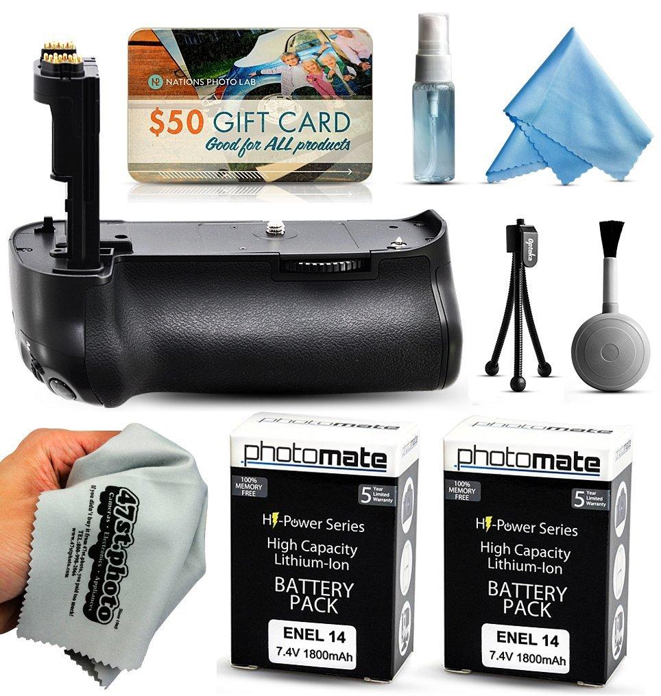 Multi Power Battery Grip + (2 Pack) Ultra High Capacity EN-EL14 ENEL14 Replacement Battery (1800mAh) for Prints + Lens Cleaning Kit for Nikon D5100 D5200 D5300 DSLR SLR Digital Camera (MB-D10 MBD10 Replacement)