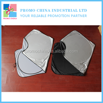 Hot Promotional Silver And Black Polyester Car Sun Shade For Car Gifts