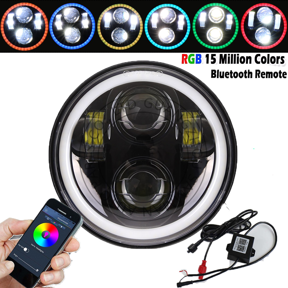 Bluetooth Control 5.75'' 5-3/4 RGB Halo 40w Led Harley headlight Daymaker for Harley Division