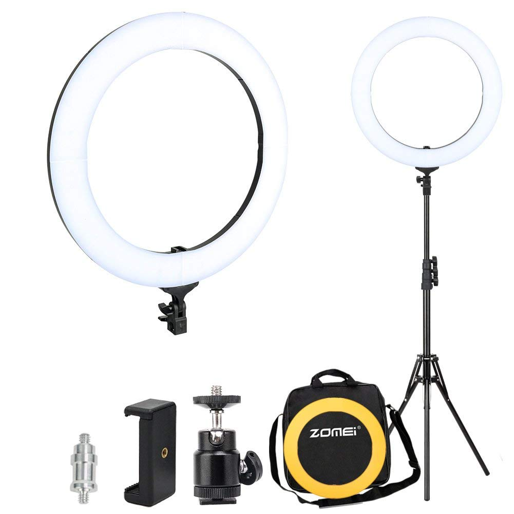 Zomei 18-inch Dimmable LED Ring Light Kit with Stand (58W 5500K), with Plastic Color Filter, Phone Holder, Carrying Bag, Ring Lights for Makeup Portrait Youtube Video Shooting