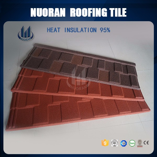 NUORAN Factory Best Price Chinese Solar Roofing Material Korean Cheap Kerala Steel Flat Glazed Stone Coated Roof Tiles