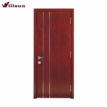 Flat Panel Solid Wood Plywood Door With Silver Lines For Bedroom