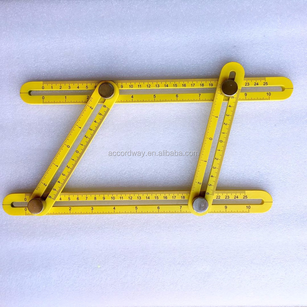ABS Yellow black blue orange Multi Angle Ruler Measures Angleizer Template Tools