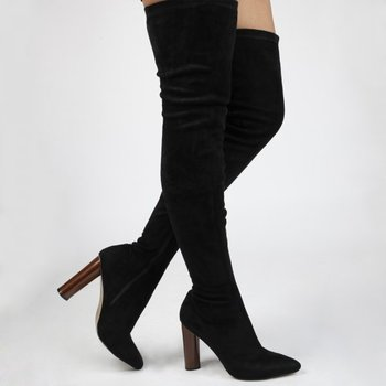 68b12d6e53d Wooden Heel Pointed Toe Over the knee Boots in Faux Suede Women shoes High  Heels Ladies
