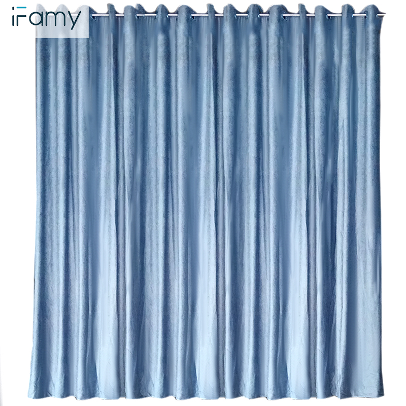 With linen blackout blue curtains velvet fabric eyelet curtain