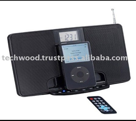 iP206 Flat speaker with FM radio, Alarm Clock and dock for I-pods