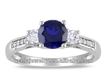 Fashion Created Sapphire And Imitation Diamond 3 stone Ring Cheap