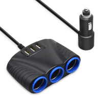 3 Socket 3 USB Cigarette Lighter Car Charger 5V 4.8A 3.1A OEM Car Charger Set for Drive Recorder Mobile Phone Universal