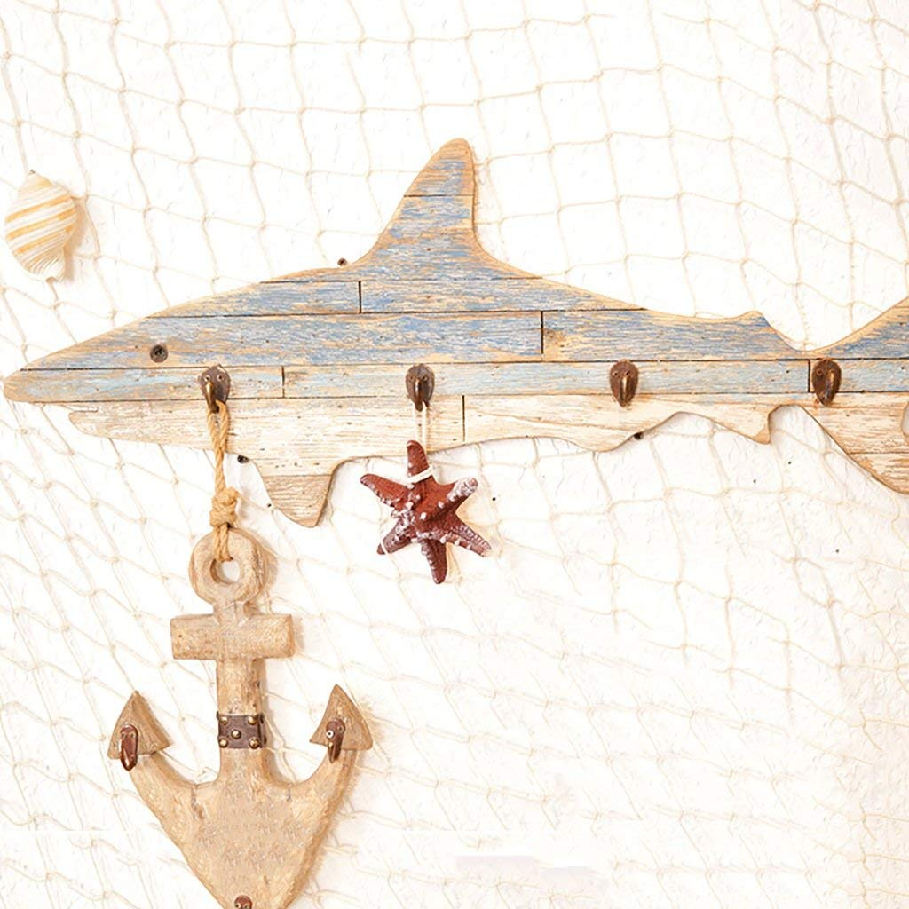 Coat Racks Coat Rack Solid Wood Mediterranean Style, Shark Hand-Decorated Hooks, Wall hangings Bedroom Living Room Locker Key Clothes Hooks Fitting Room Coat Rack Wall Hanging