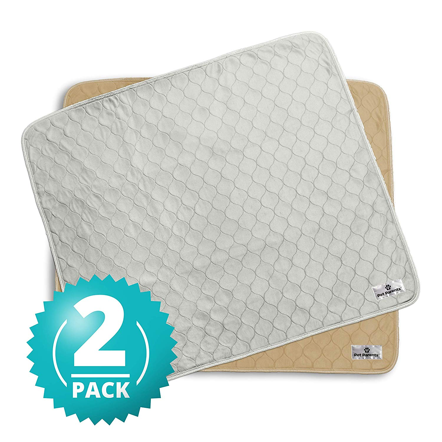 Pet Parents Washable Dog Pee Pads (2pack) of Premium Pee Pads for Dogs, Waterproof Whelping Pads, Reusable Dog Training Pads, Quality Travel Pet Pee Pads! Modern Puppy Pads! (1 Tan & 1 Grey)