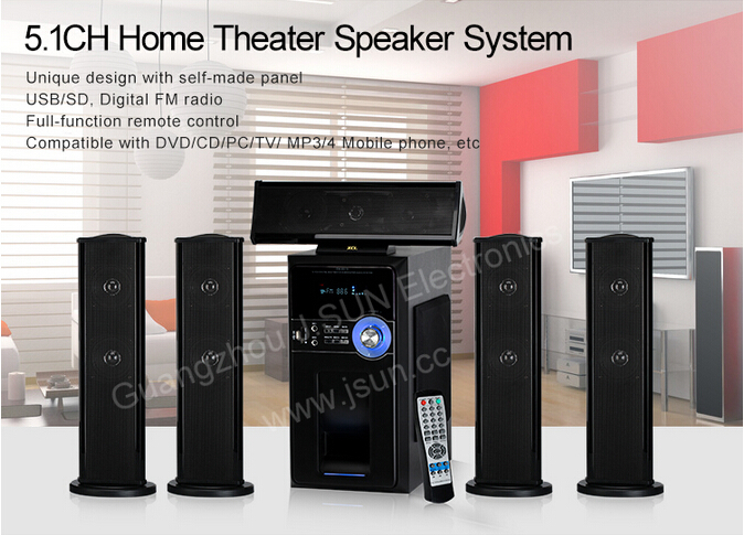 Remote Control And Usb Fm Vfd Display Home Theater Speaker Dm6515 ...