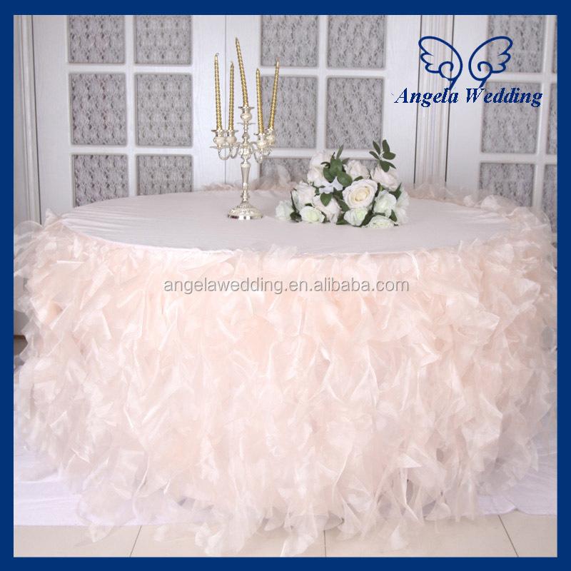 CL052C New Fancy Elegant Round Flower Fancy Wedding Champagne Taffeta  Tablecloths
