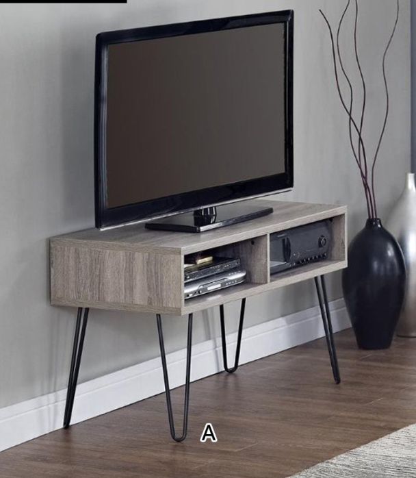 Living room retro style with hairpin metal legs wood grain finish TV table