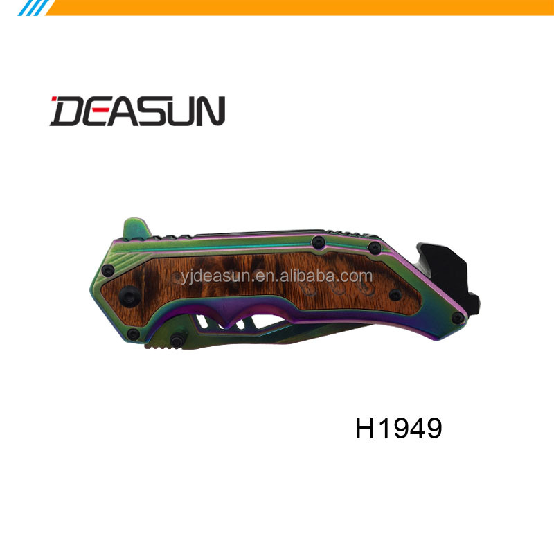 Colorful Titanium coating folding knife pocket knife