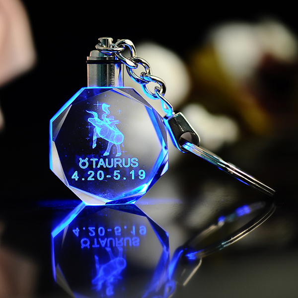 Cheap astrological 3d laser engraved crysta keychain keyring with led light for promotional gift