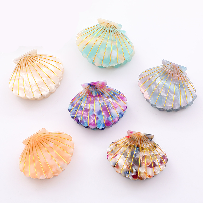 Shiny Acrylic Resin Seasell Shape Hair Claw Clips Hairclips Shiny Shell Claw Acrylic Hairs Claws Hair Clips For Girls