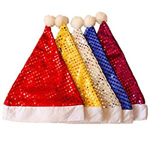 Bill-TT All kinds of fashion sequins decorated Christmas role-playing Santa Claus hat, 5 packs
