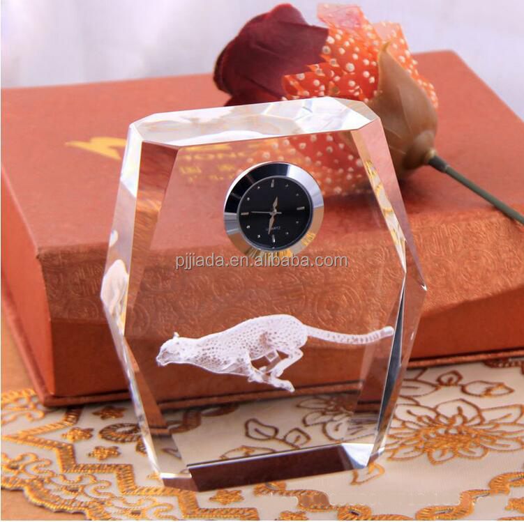 K9 Crystal Cube Figurine Leopard model with clock crystal ornaments gift 3D Laser Engraved Crafts