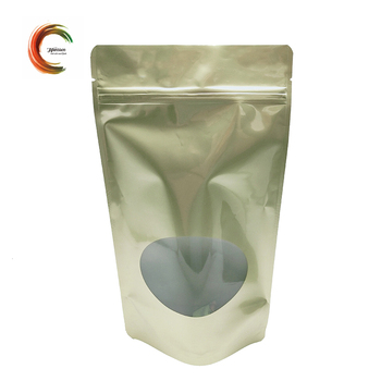 Gold food packaging stand up pouch with zipper and oval window