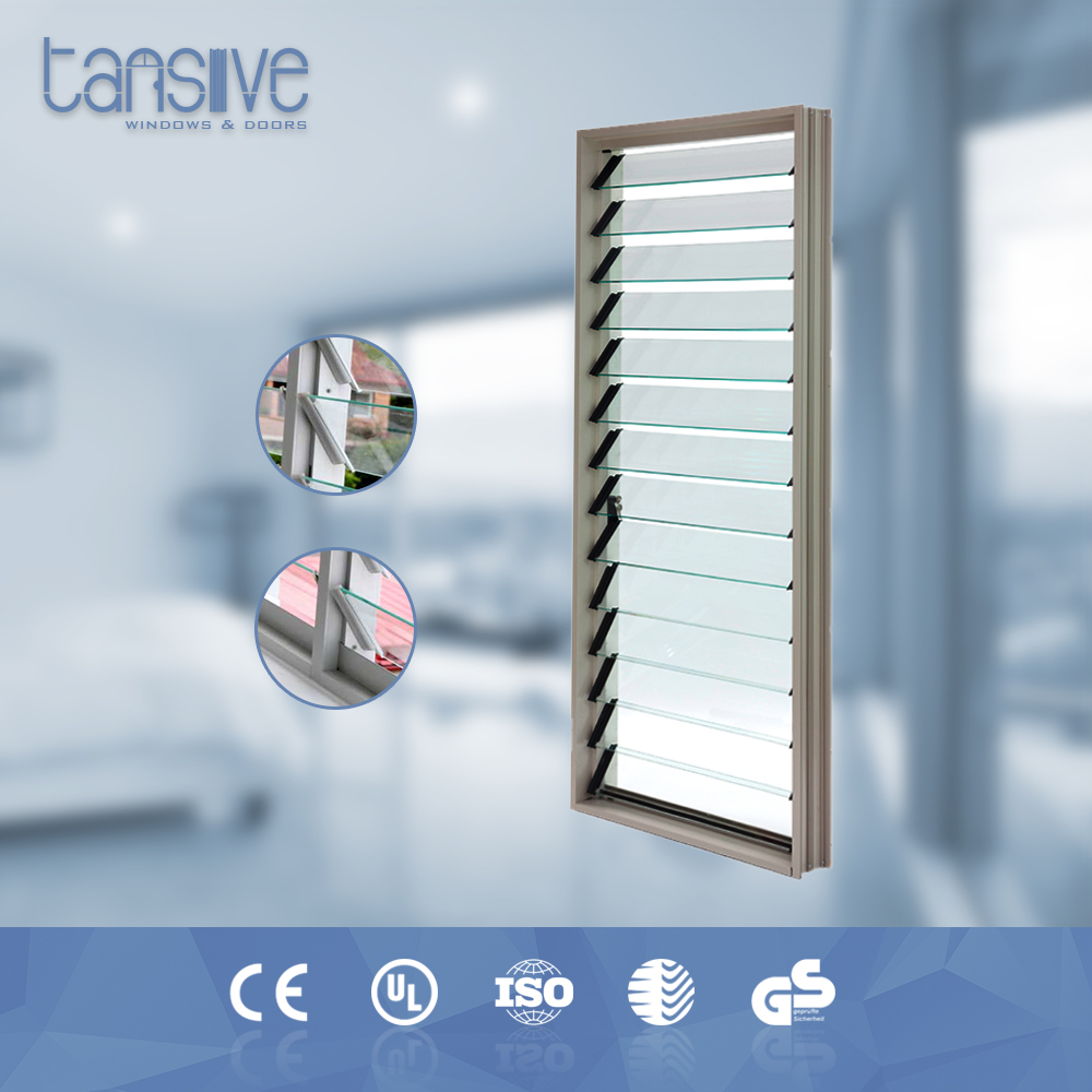 Ventilation effect aluminium glass louver hardware with stainless screen