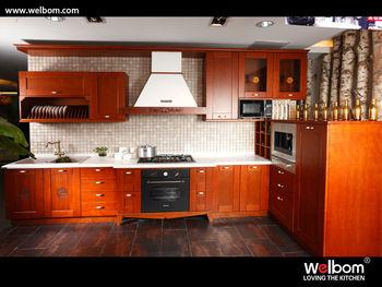 2014 popular modern cherry solid wood kitchen cabinets for Solid wood modern kitchen cabinets