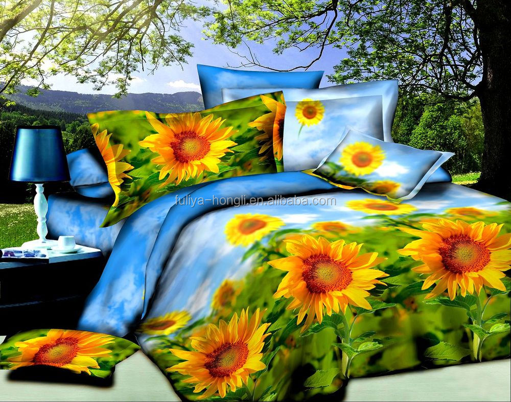 Floral cotton bed sheets - Factory Wholesale 100 Cotton 3d Printed Bed Sheet Floral Design Cotton Printed Bed Sheet