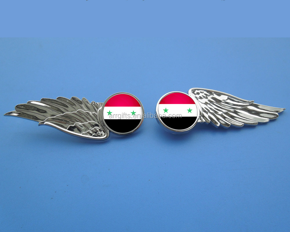 printed syria national flag metal angel wing shape brooch pin emblem