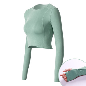 Dry Fit Polyester Long Sleeve Gym Yoga Tops Woman Active Wear Fitness Shirt