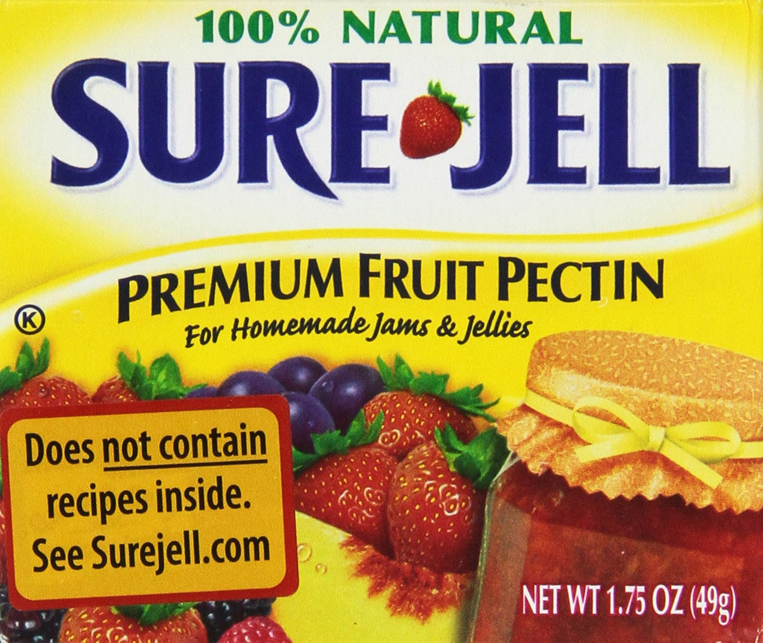PREMIUM FRIUT PECTIN FOR HOMEMADE JAMS AND JELLIES by Sure Jell - 100% Natural - 6 of 1.75 oz boxes