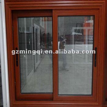 sliding aluminum window frame in wood color - Wood Frame Windows