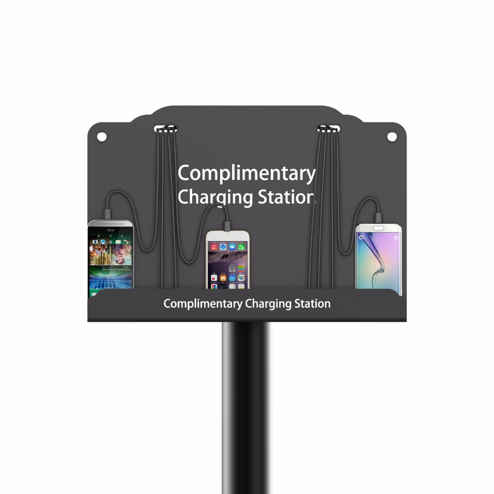 Multi cell phone charging station advertising charging Cell phone charging station