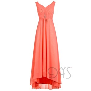 Floor Length Flowing Orange Chiffon Elegant Mother of the Bride Dress 2019
