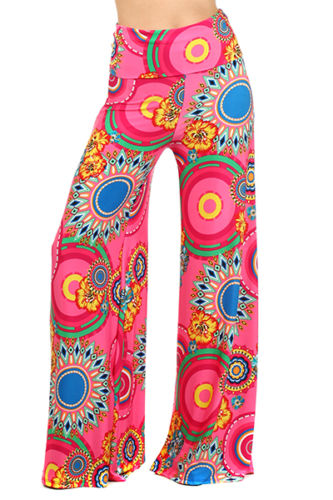 New Floral Cheap Wide Leg Palazzo Pants Plus Size For