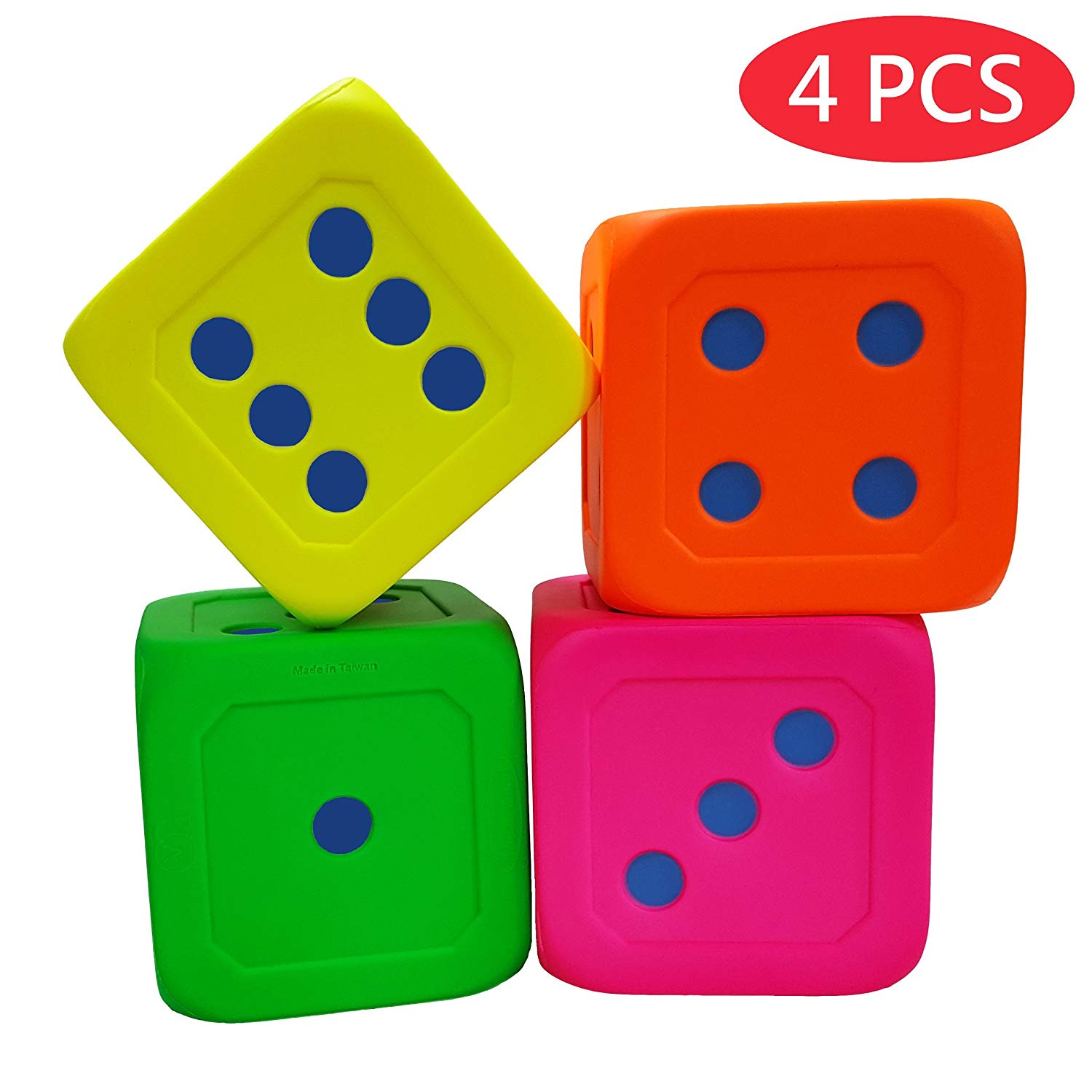 Macro Giant 6 Inch Soft Foam Jumbo Big Playing Dice, Set of 4, Neon Colors, Round Edge, Toy Brick, Board Games, Math Teaching, Family Game, Wedding Games, Kid Toy Gifts, Birthday Gifts, Oversized game