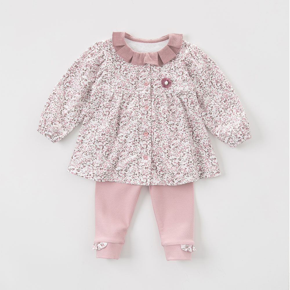 DB5535 davebella autumn baby girls grey pink clothing sets printed suit children clothing sets floral clothes