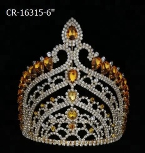 Gold Yellow Stone Tall King Pageant Crown