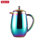 Higwin Unique Color Coating Rainbow Cafe Pot Double Wall Press Stainless Steel french coffee maker