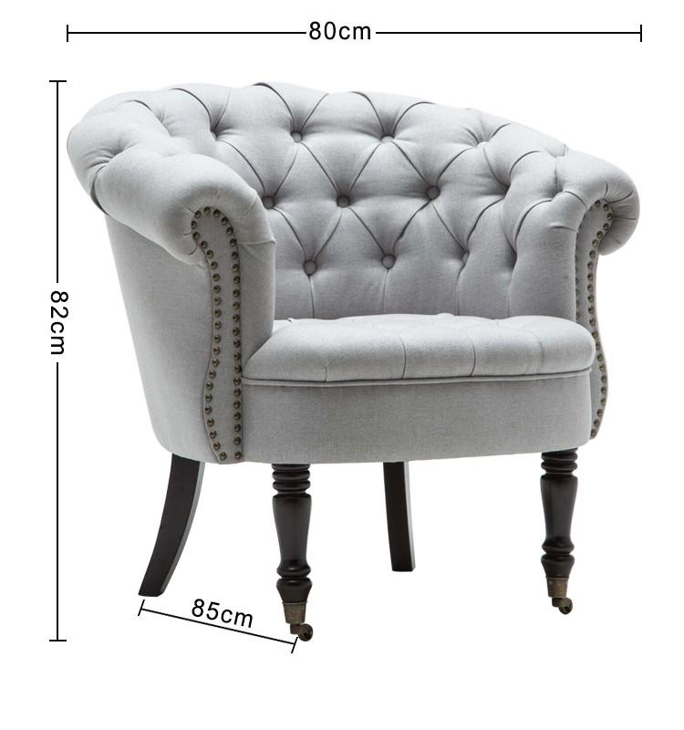 Furniture Wooden Chair Lounge Fabric Armchair Corner