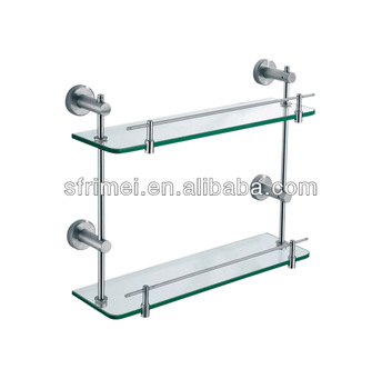 Wall-mounted Shower Caddy Storage Shelf Double Tiers Bathroom Glass ...