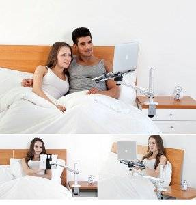 """MagicHold 360º Rotating Height Adjustable Floor/bed Holder/mount for 10-15.6 Inch Laptop/notebook /iPAD Pro 12.9""""/Ipad/ipar Air/any tablets upto 13"""""""