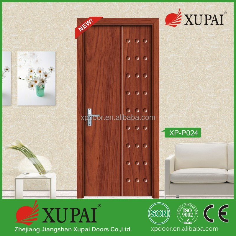 Pvc Film Coated MDF Finge Jiont Pvc Door Inward Function Wooden Door With One Year Warranty Factory Main Produced