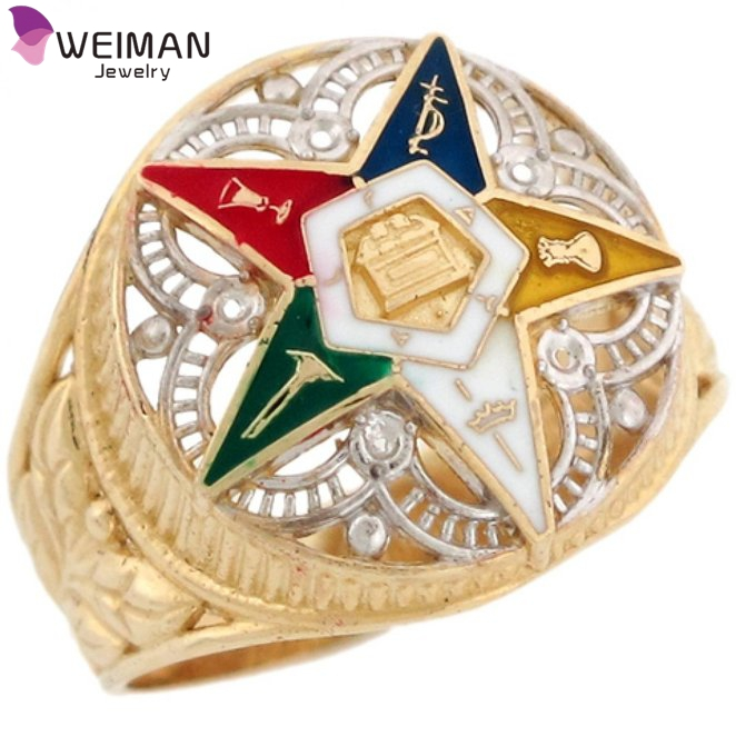 Eastern Star Enamel new gold ring models for men