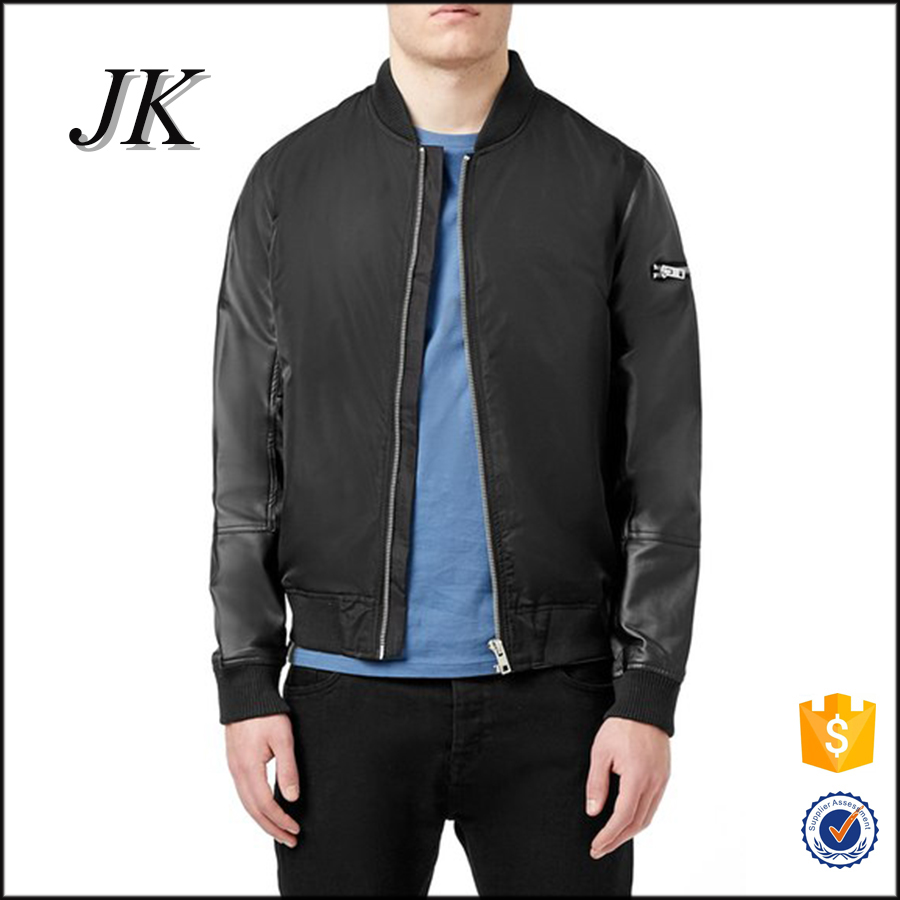 Men's jacket 2016 cheap sale blank custom fashion design leather jacket manufacturers for china