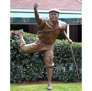 New Product Outdoor Metal Life Size Golfer Statue For Garden Decoration