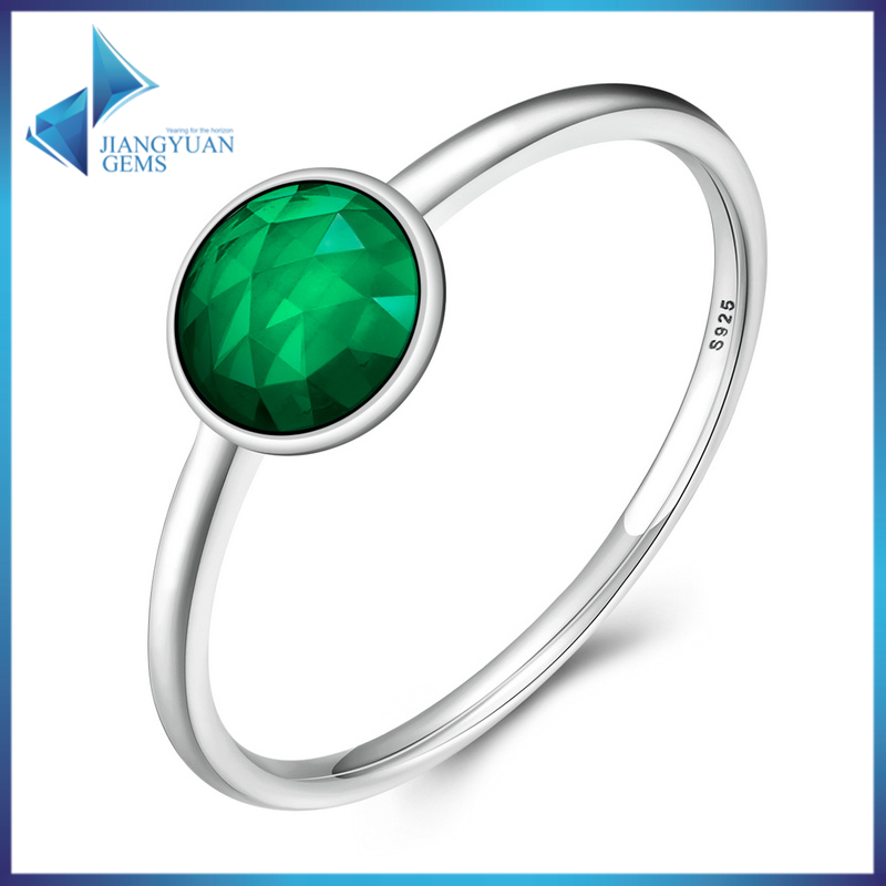 925 Sterling Silver MAY DROPLET RING Rich Royal Green Crystal Finger Ring