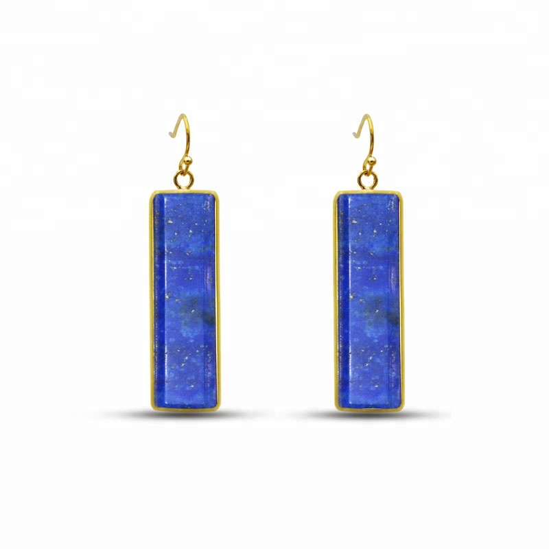 Personalized  long lapis lazuli faceted sterling silver big hoop earrings natural rectangle stone earring for women
